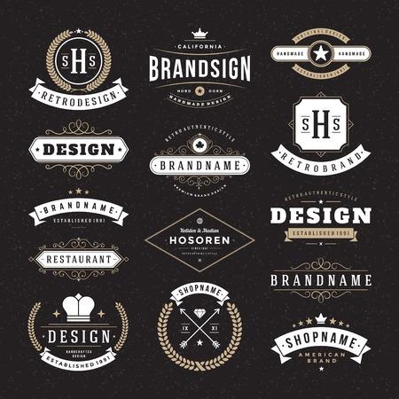 vintage: Retro Vintage insígnias ou tipos de conjunto de ícones. Elementos do projeto do vetor, sinais do negócio, identidade, etiquetas, emblemas e objetos.