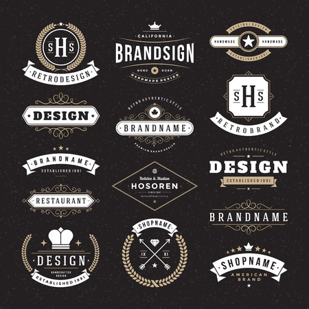 ročník: Retro Vintage insignií nebo typy sady ikon. Vektorové prvky designu, obchodní značky, identita, štítky, odznaky a objekty.