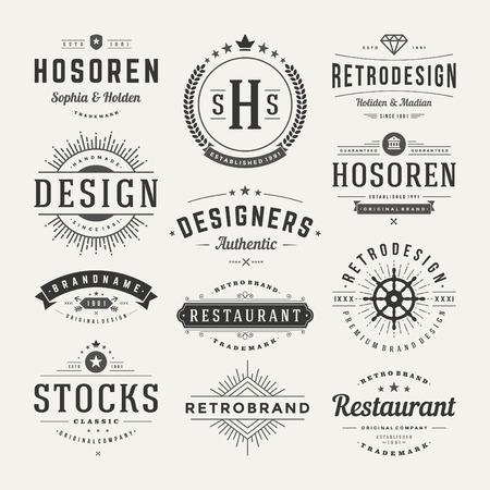 Retro Vintage Insignias or icon types set. Vector design elements, business signs, logos, identity, labels, badges and objects. Çizim