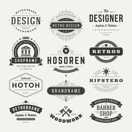 brand tag: Retro Vintage Insignias or Logotypes set. Vector design elements, business signs, logos, identity, labels, badges and objects.