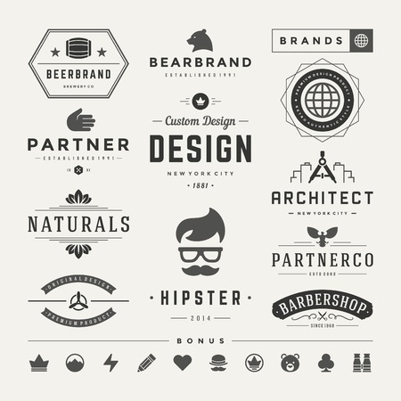 name tags: Retro Vintage Insignias or icon types set. Vector design elements, business signs, identity, labels, badges and objects.