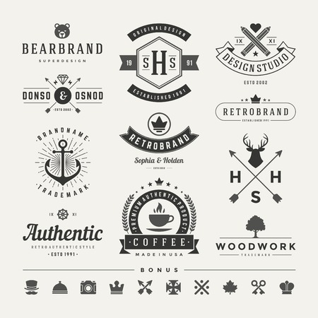 Retro Vintage Insignias or icon types set. Vector design elements, business signs,identity, labels, badges and objects.