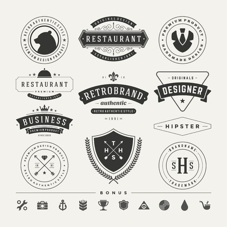 designer labels: Retro Vintage Insignias or icon types set. Vector design elements, business signs, identity, labels, badges and objects.