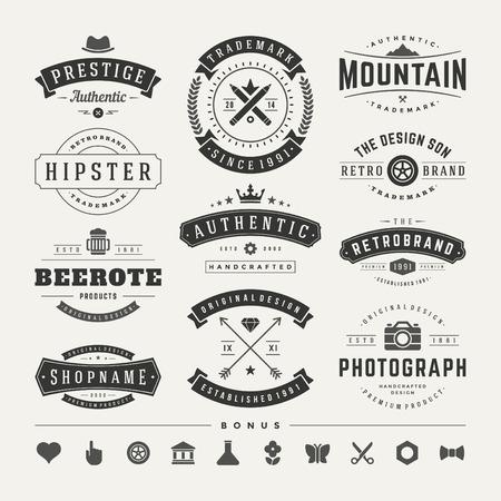 Retro Vintage Insignias o tipos de conjunto de iconos. Elementos del vector de diseño, rótulos de establecimientos, identidad, etiquetas, escudos y objetos. Foto de archivo - 35123557
