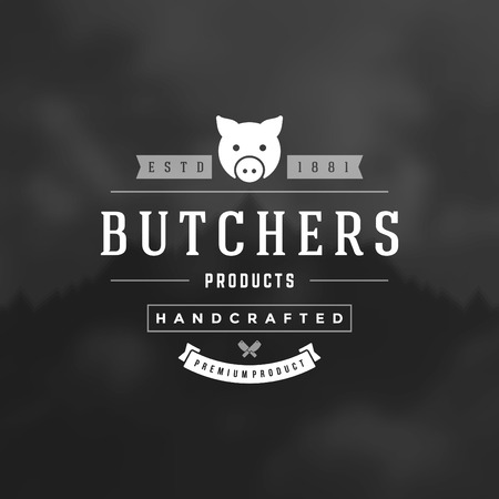 butcher's shop: Retro Vintage Insignia, Label or Badge Vector design element, business sign template.