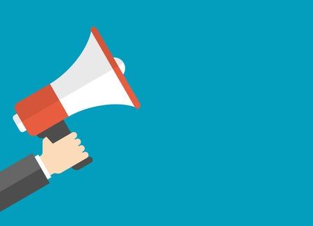Płaski kształt koncepcji ilustracji wektorowych biznesu Cyfrowy marketing działalności człowieka gospodarstwa megafon na stronie internetowej i promocyjne banery. Ilustracje wektorowe
