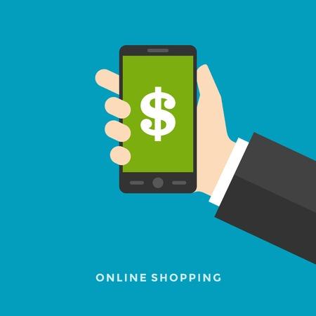 Appartement design vector illustration notion entreprise en ligne des services de paiement bancaires main tenir téléphone intelligent pour le site Web et la promotion bannière. Banque d'images - 35282147