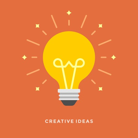 bulb light: Flat design vector business illustration concept Creative idea with light lamp bulb for website and promotion banners.