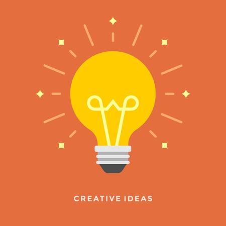 Platte ontwerp vector zaken illustratie concept creatief idee met licht lamp voor website en promotie banners. Stock Illustratie