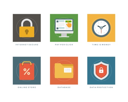 secure shopping: Business flat design icons, Internet Secure, Online Shopping, Time is Money, Database, Data Protection. Vector illustration for website and promotion banners. Illustration