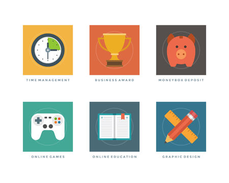 Business flat design icons, Time Management, Business Award, Money Box Deposit, Online Games, Education, Graphic Design Vector illustration for website and promotion banners. Vector