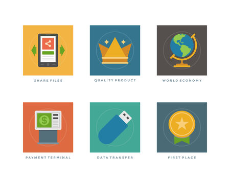 first place: Business flat design icons, Share Files, Quality Product, World Economy, Payment Terminal, Data Transfer, First Place Medal. Vector illustration for website and promotion banners. Illustration