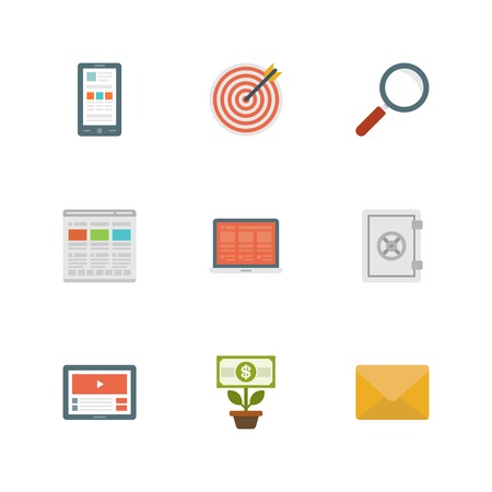 Flat design icons, Smart Phone, Target Dart, Search Magnifier Glass, Web Design, Laptop, Safe Security, Tablet Computer, Money Tree, E-mail. Vector business symbols for website and promotion banners. Vector