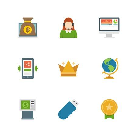 computer support: Icone del design piatto, online banking, computer portatile, di sostegno della donna, Screen, Telefono cellulare, Corona, Globe, Fruttivendolo, USB, Medaglia d'oro. Simboli Vector business per il sito web e promozione striscioni.