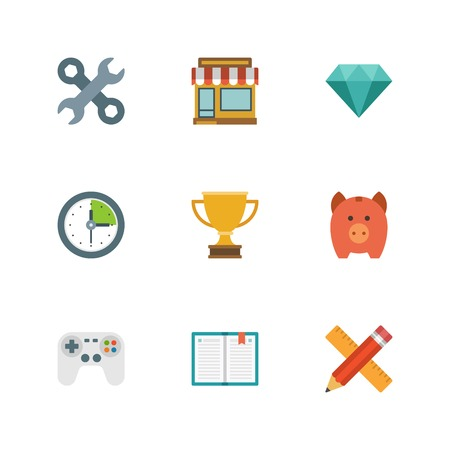 Flat design icons, Tools, Online Shop, Diamond, Clock, Trophy Cup, Piggy Money Box, Game Controller, Book, Pencil and Ruler. Vector business symbols for website and promotion banners. Vector