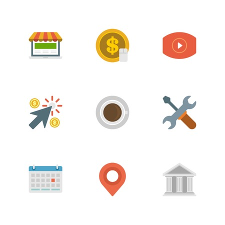 communication tools: Flat design icons, Money Coin, Video Marketing, Shopping, Arrow Cursor, Coffee cup, Tools, Calendar, Map Pointer, Online Shopping, Exchange. Vector business symbols for website and promotion banners. Illustration