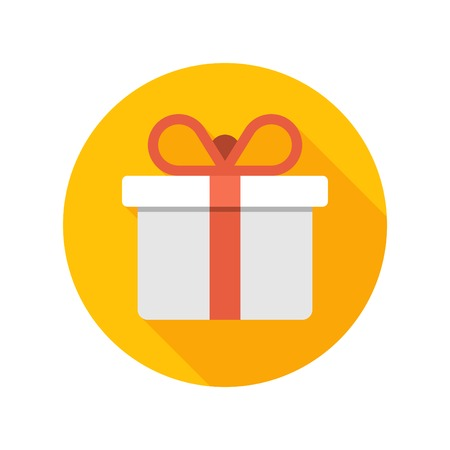 button: Flat White Gift Box Present with Red Bow icon design and long shadow vector illustration for website and promotion banners.