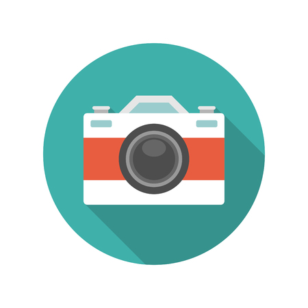 Flat Photographer Professional Retro Photo Camera icon design and long shadow vector illustration for website and promotion banners. Illustration
