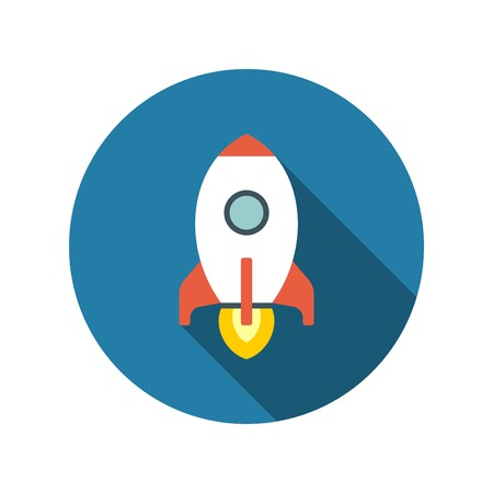 fly up: Flat Startup Rocket Beginning Fly Up Start Business Concept icon design and long shadow vector illustration for website and promotion banners.