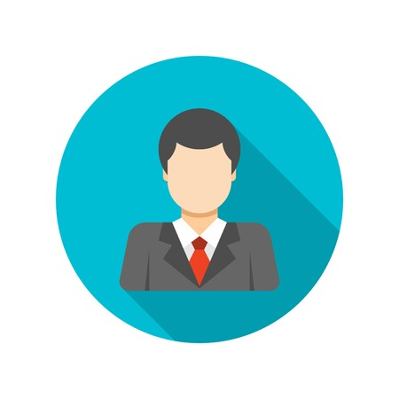 busness: Flat Busness Man User Profile Avatar in Suit icon design and long shadow vector illustration for website and promotion banners.