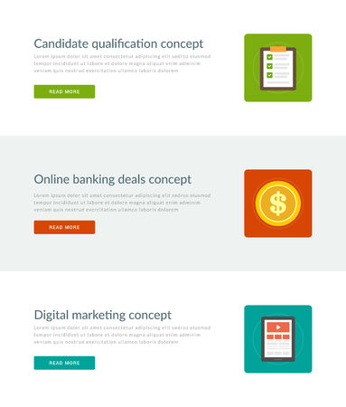 candidate: Website Headers or Promotion Banners Templates and Flat Icons Design. Candidate Qualification Checklist, Online Banking Deals Dollar Coin, Digital Marketing Tablet Computer. Vector Illustration.
