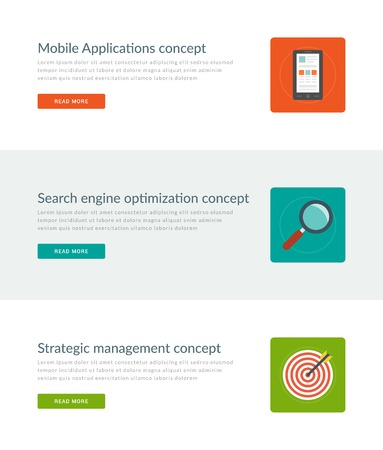 strategic management: Website Headers or Promotion Banners Templates and Flat Icons Design. Mobile Application Development Smart Phone, Search Engine Optimization, Strategic Management Target. Vector Illustration. Illustration