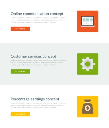 earning: Website Headers or Promotion Banners Templates and Flat Icons Design. Online Communication Laptop, Customer Service Gear, Percentage Earning Money Bag. Vector Illustration.