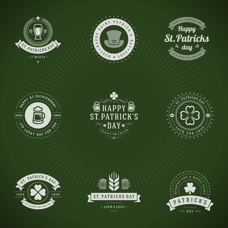 irish beer: Typographic Saint Patricks Day Retro Badges. Vintage Vector design elements, labels, t-shirts, posters, greetings cards and objects.