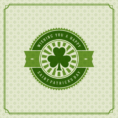 4 leaf: Typographic Saint Patricks Day Retro Background. Vintage Vector design greetings card or poster. Chalkboard backdrop.