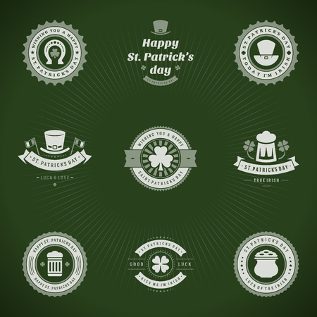 t shirt print: Typographic Saint Patricks Day Retro Badges. Vintage Vector design elements, labels, t-shirts, posters, greetings cards and objects.
