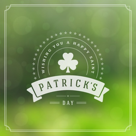 Typographic Saint Patricks Day Retro Background. Vintage Vector design greetings card or poster. Chalkboard backdrop.