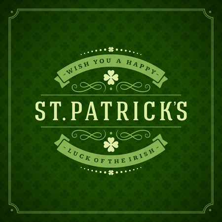 patricks day: Typographic Saint Patricks Day Retro Background. Vintage Vector design greetings card or poster. Chalkboard backdrop.