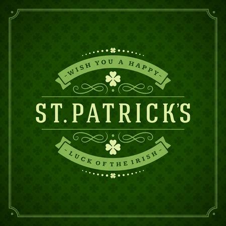 celtica: Typographic Saint Patricks Day sfondo retrò. Vintage Vector auguri di progettazione carta o poster. Sfondo Lavagna.