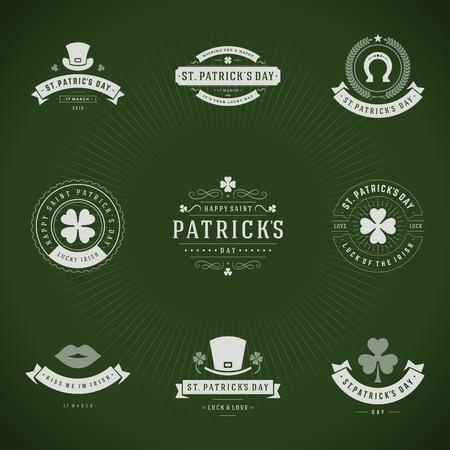 celtica: Tipografiche Saint Patricks Day Retro Badges. Vintage elementi di design vettoriale, etichette, t-shirt, poster, biglietti di auguri e oggetti.