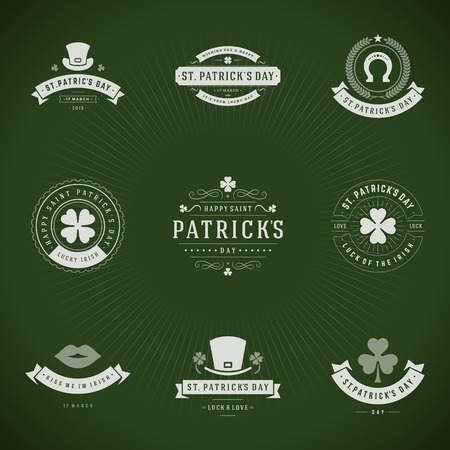 patricks: Typographic Saint Patricks Day Retro Badges. Vintage Vector design elements, labels, t-shirts, posters, greetings cards and objects.
