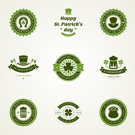 clover background: Typographic Saint Patricks Day Retro Badges. Vintage Vector design elements, labels, t-shirts, posters, greetings cards and objects.