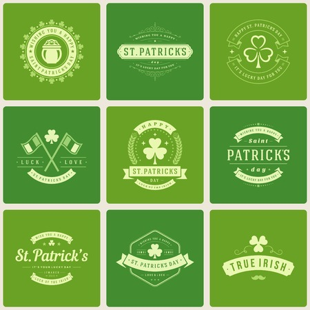 celtic shamrock: Typographic Saint Patricks Day Retro Badges. Vintage Vector design elements, labels, t-shirts, posters, greetings cards and objects.