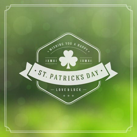 Typographic Saint Patricks Day Retro Background. Vector