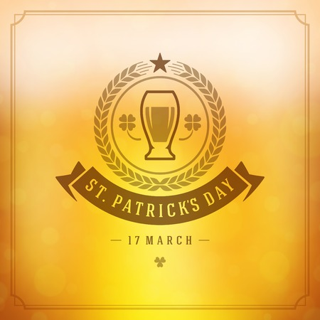paddy: Typographic Saint Patricks Day Retro Background.