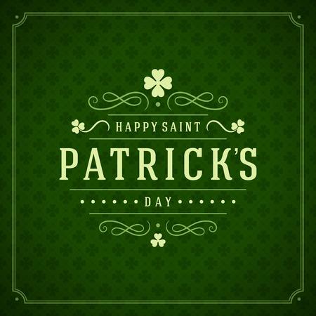 Typografische Saint Patricks Day Retro Achtergrond.