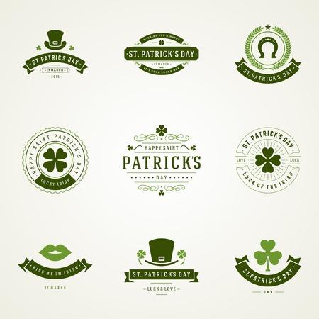 文字体裁のセント ・ パトリックス ・ デーのレトロなバッジ。ビンテージ ベクトル デザインやラベル、t シャツ、ポスター、グリーティング カー