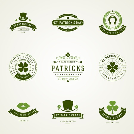 shamrock: Typographic Saint Patricks Day Retro Badges. Vintage Vector design elements, labels, t-shirts, posters, greetings cards and objects.