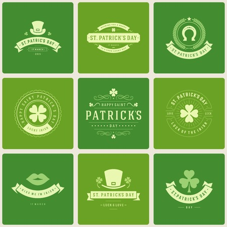 Typographic Saint Patricks Day Retro Badges. Vintage Vector design elements, labels, t-shirts, posters, greetings cards and objects.