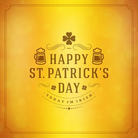 Typographic Saint Patricks Day Retro Background. Vector