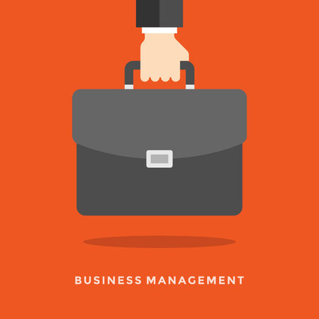 hand holding: Flat design vector business illustration concept Management hand holding briefcase for website and promotion banners. Illustration