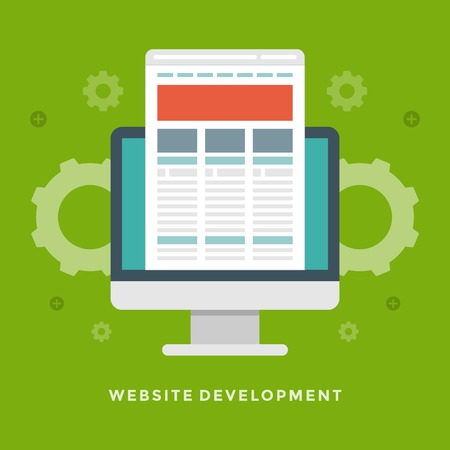 prototype: Flat design vector business illustration concept Website development monitor screen and site prototype for website and promotion banners. Illustration