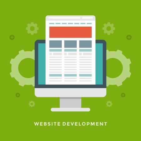prototipo: Pantalla plana de diseño vectorial desarrollo empresarial ilustración Concepto del Web site monitor y prototipo sitio para el Web site y de promoción de banners.