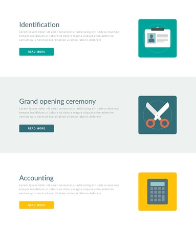 Website Headers or Promotion Banners Templates and Flat Icons Design. User identification, Grand opening ceremony scissors, Accounting calculator. Vector Illustration. Vector