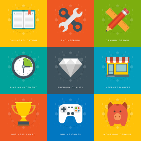 Flat design icons, Tools, Online Shop, Diamond, Clock, Trophy Cup, Piggy Money Box, Game Controller, Book, Pencil and Ruler. Vector business symbols for website and promotion banners.