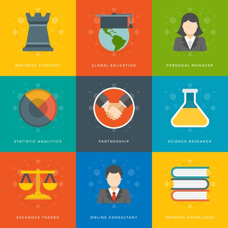 Flat design icons, Business Man, Business Woman, Globe, Chess, Scales, Books, Handshake, Science, Education. Vector business symbols for website and promotion banners. Vector